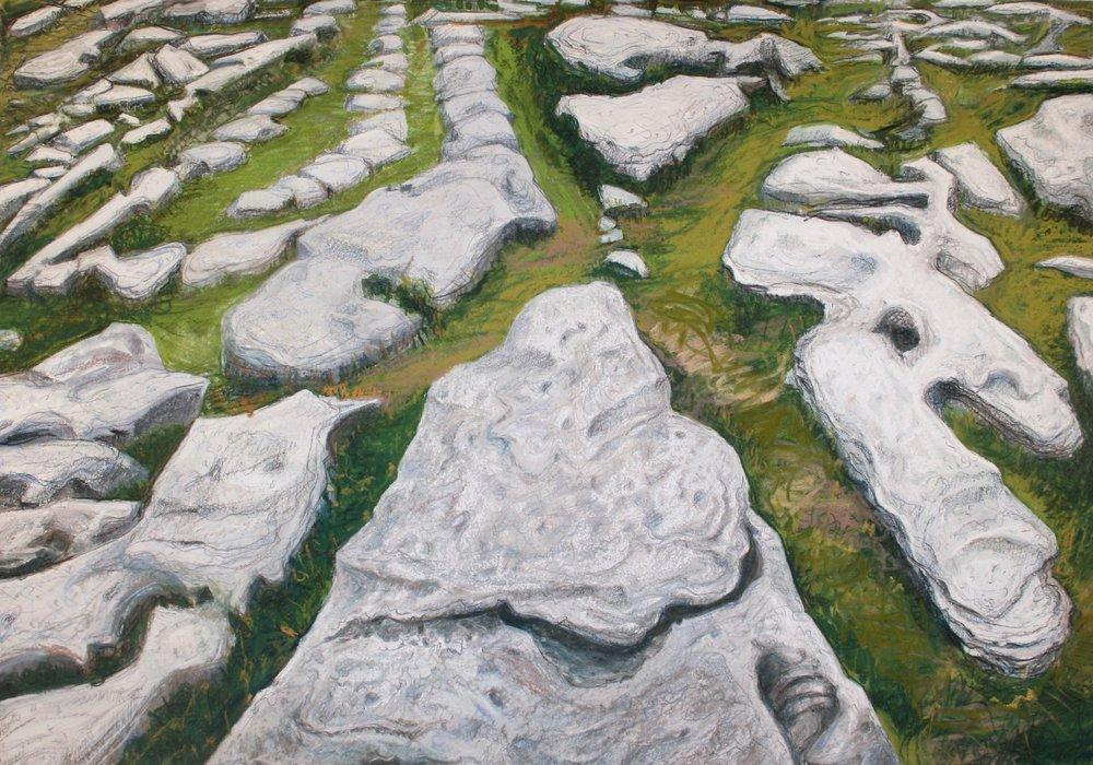"""Burren Karst Slabs   Pastel/gouache, 14x20"""", 2013"""