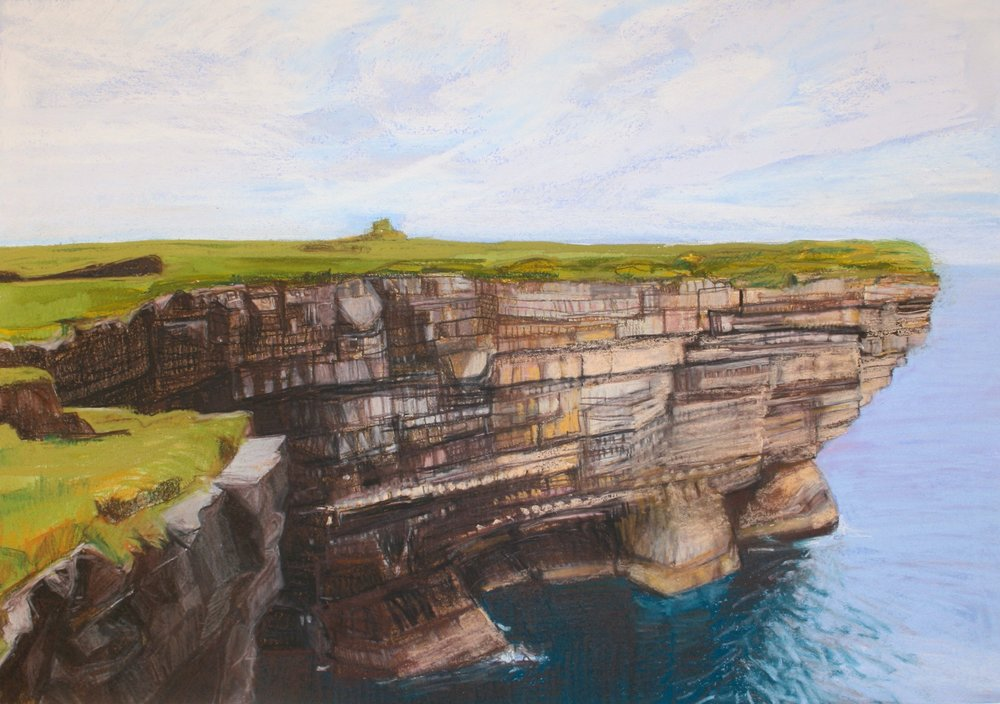"Downpatrick Cliffs   Pastel/watercolor, 14x20"", 2013"