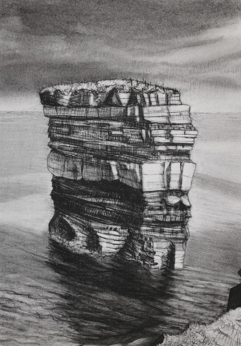 """Dun Briste   Charcoal, 20x14"""", 2013"""