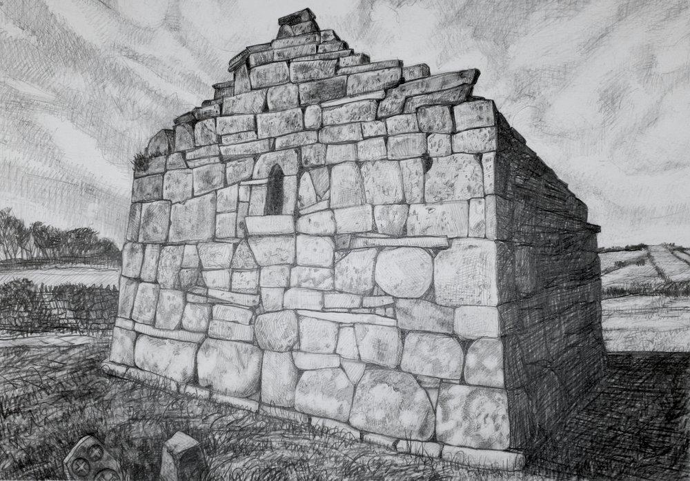 "Kilcomin Church, Mayo   Pencil, 14x20"", 2013"