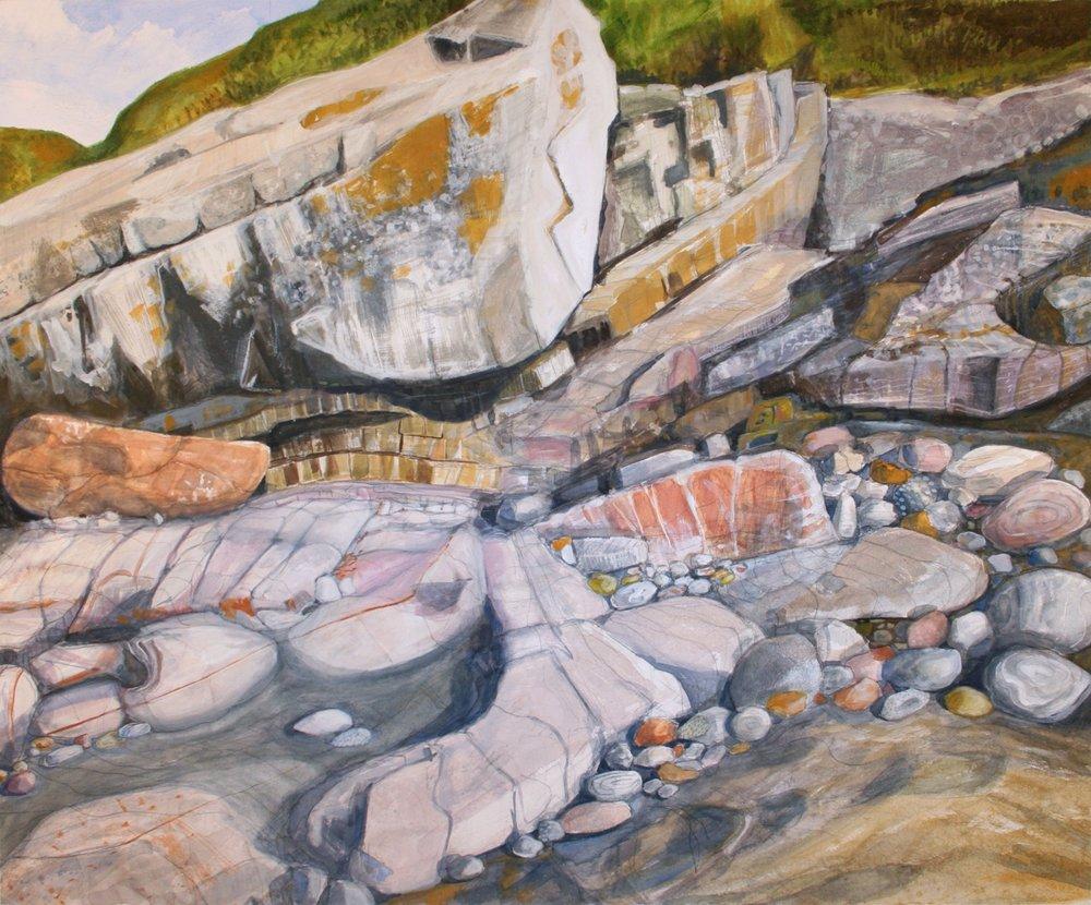 "Rocks at Bunatrahir Bay   Watercolor/pastel/pencil, 21x26"", 2014"