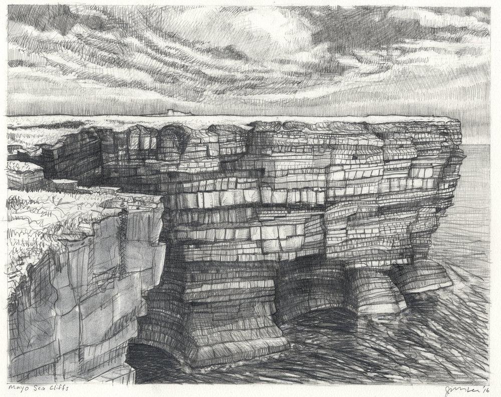 """Mayo Sea Cliffs   Pencil, 11x14"""", 2016"""