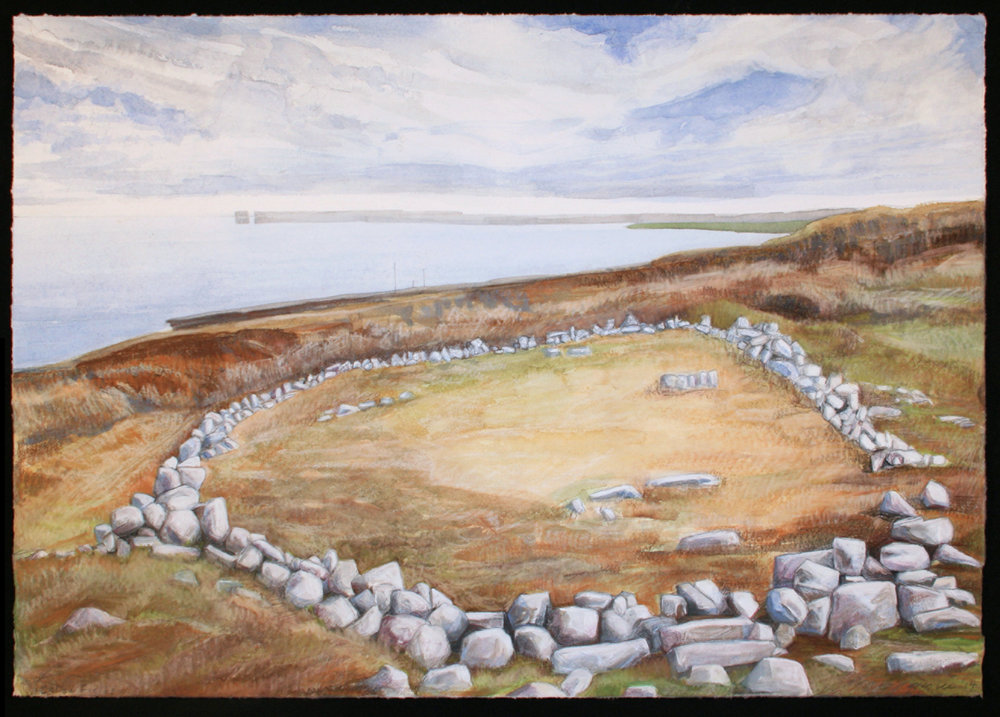 "Neolithic Foundation, Ceide Fields   Watercolor, pastel, 14x20"", 2013"