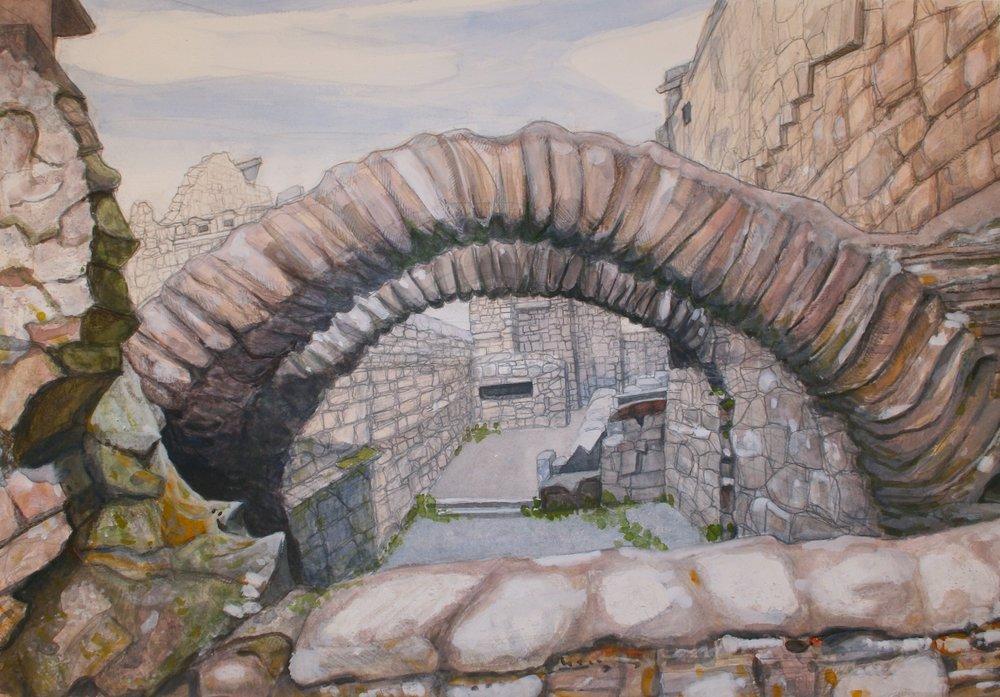 "Rathfran Priory Arches   Gouache/pastel/pencil, 14x20"", 2013"