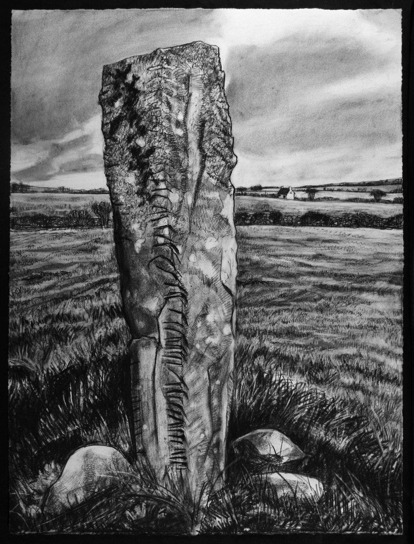 """Ogham Stone   Charcoal, 30x22"""", 2014"""