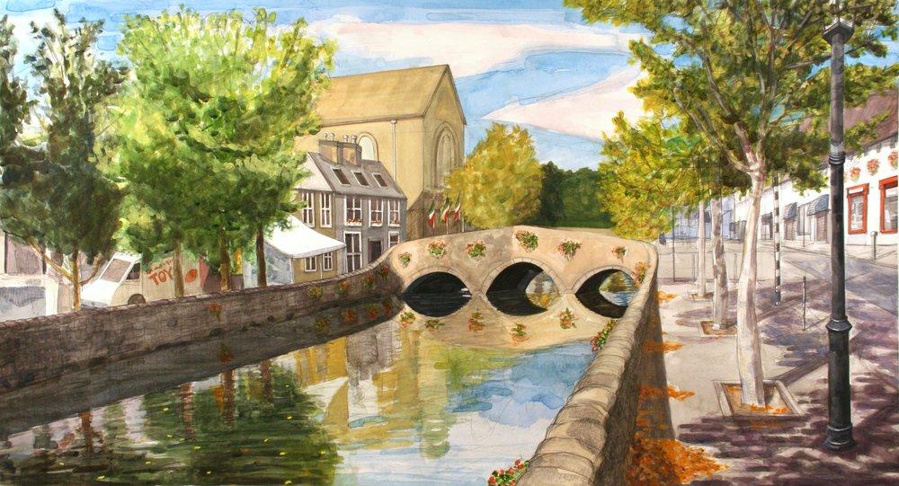 """Saturday in Westport, Mayo   Watercolor/gouache/pencil, 21x40"""", 2014"""