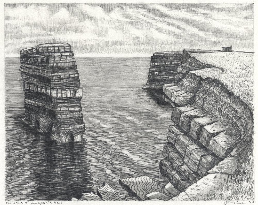 "Sea Stack at Downpatrick Head   Pencil, 11x14"", 2014"