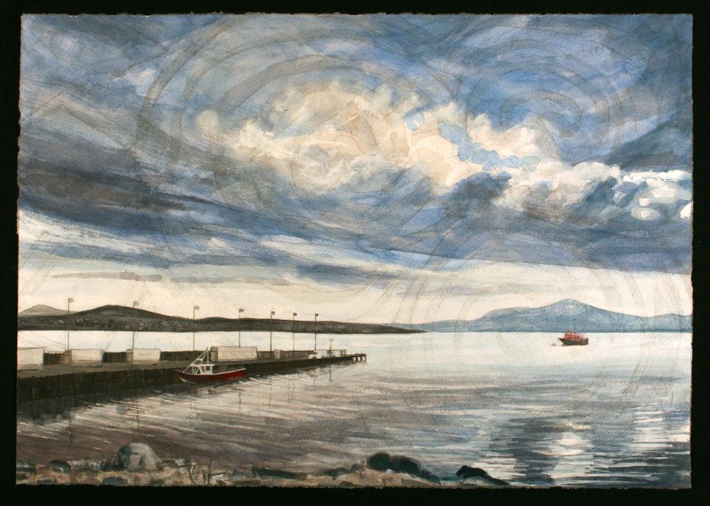 """Blacksod Bay  Watercolor/gouache/pencil, 14x20"""", 2017"""