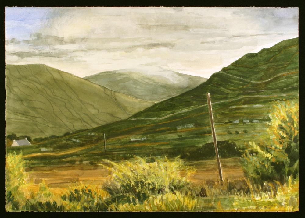 "In the Connemara, Co. Galway   Watercolor/gouache/pencil, 14x20"", 2017"