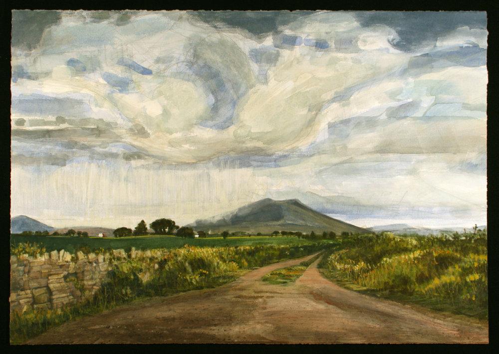 "Curtain of rain   Watercolor/gouache/pencil, 14x20"", 2017"