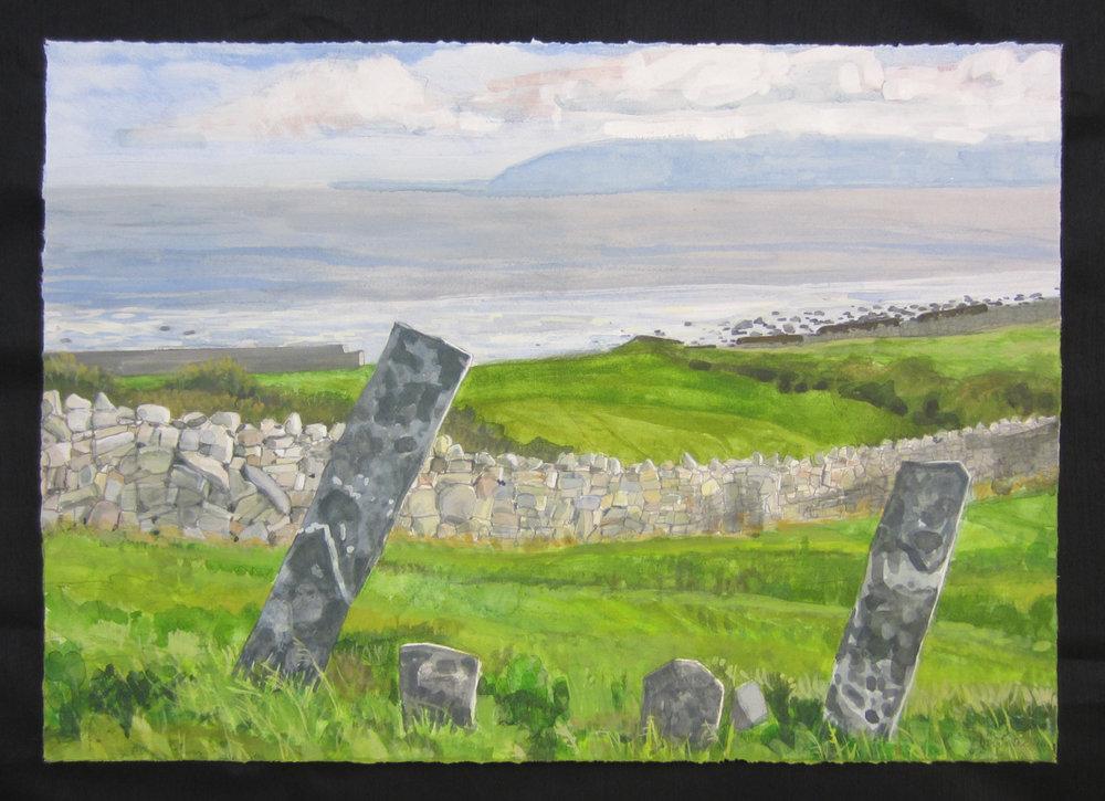 """Kilcomin Graveyard   Watercolor/gouache/pencil, 14x20"""", 2016"""