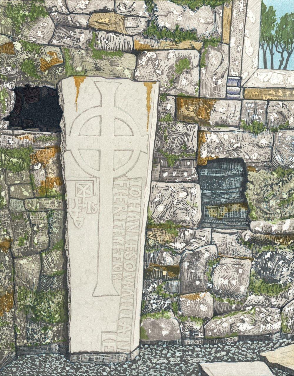 "Gravestone in Rathfran Priory   Color woodcut, 18x15"", 2015"