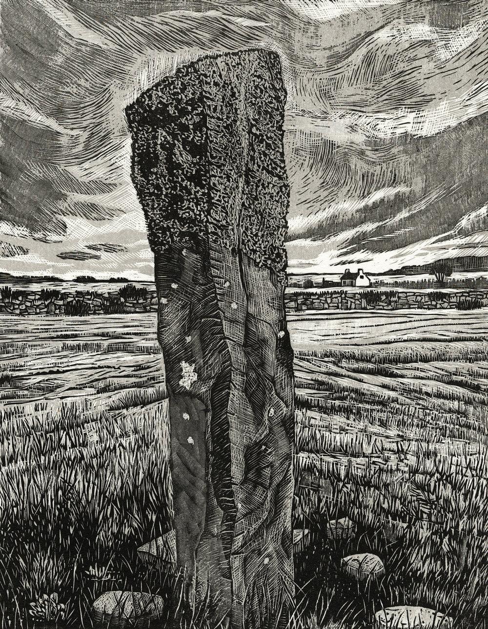 """Irish Standing Stone II   Woodcut, 18x15"""", 2014"""