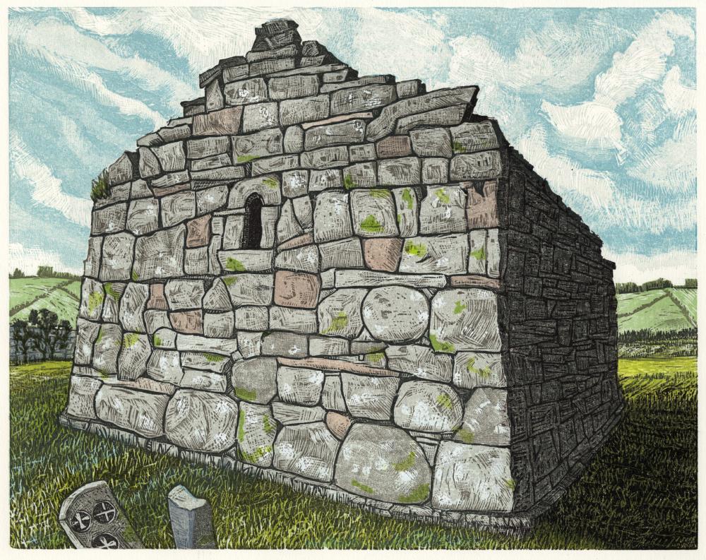 "St. Kilcomin Church, Co. Mayo   Color woodcut, 15x18"", 2015"