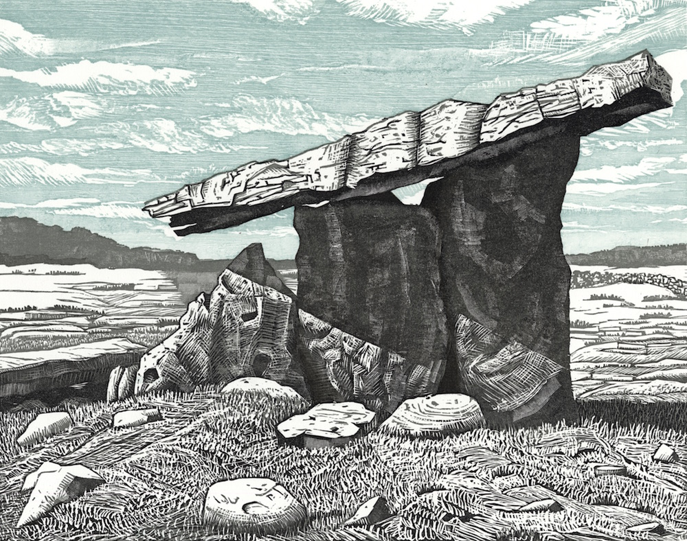"Poulnabrone Dolmen, Co. Clare II   Woodcut, 11x14"", 2014"
