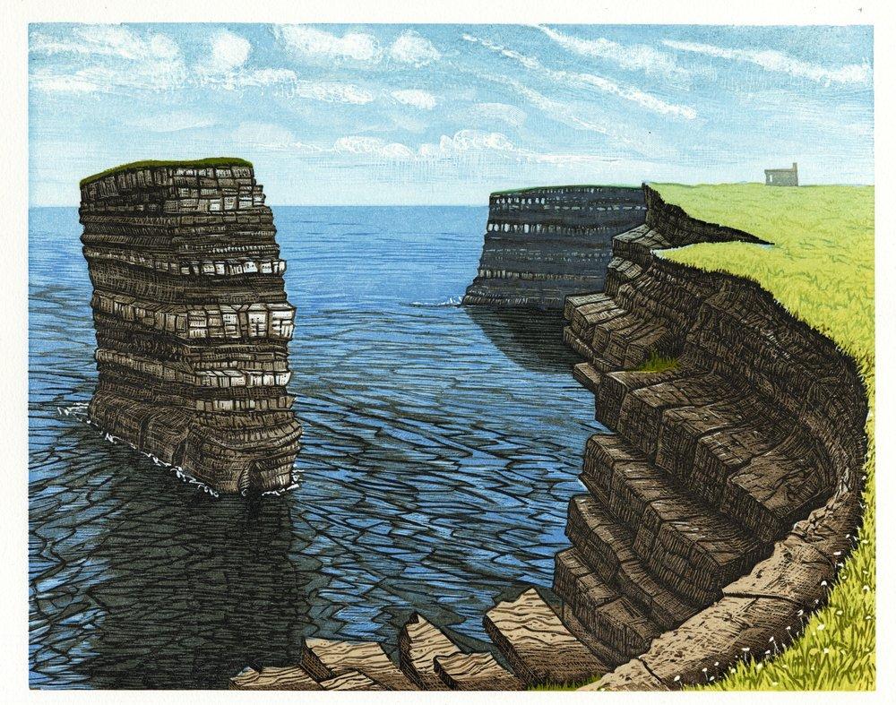 """Sea Stack at Downpatrick Head, Co. Mayo   Color woodcut, 15x18"""", 2014"""