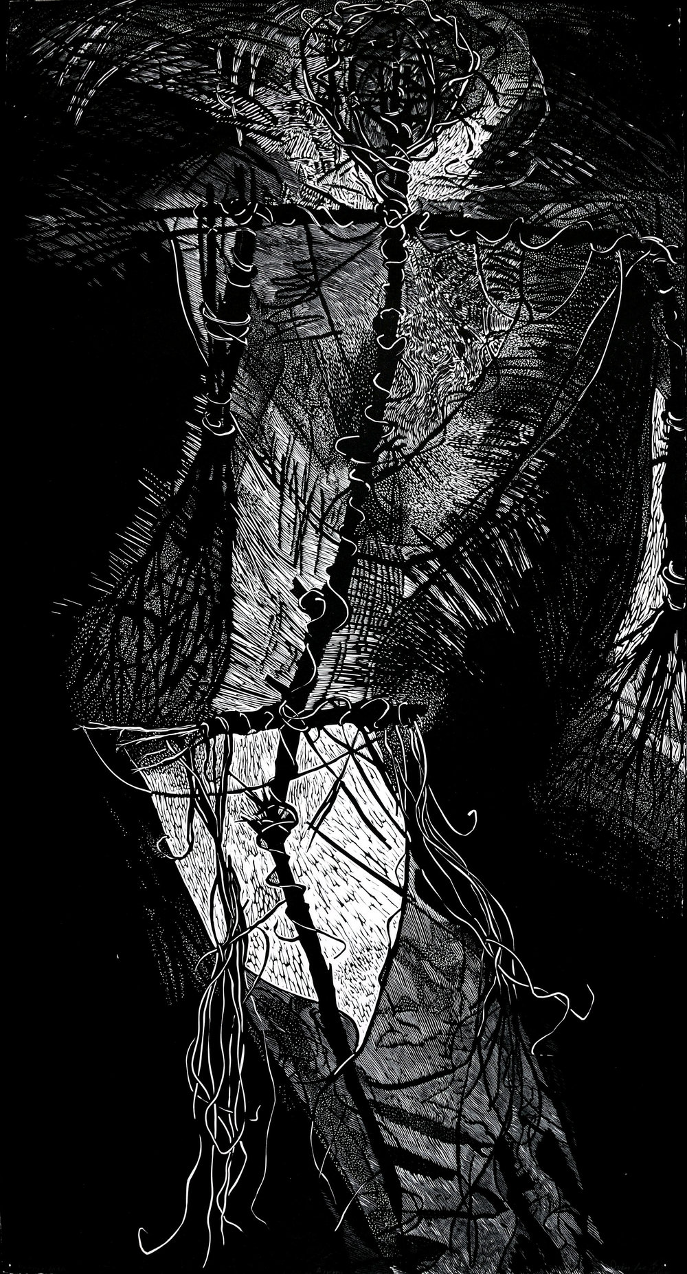 "Broken Man   Linocut, 24x43"", 1987"
