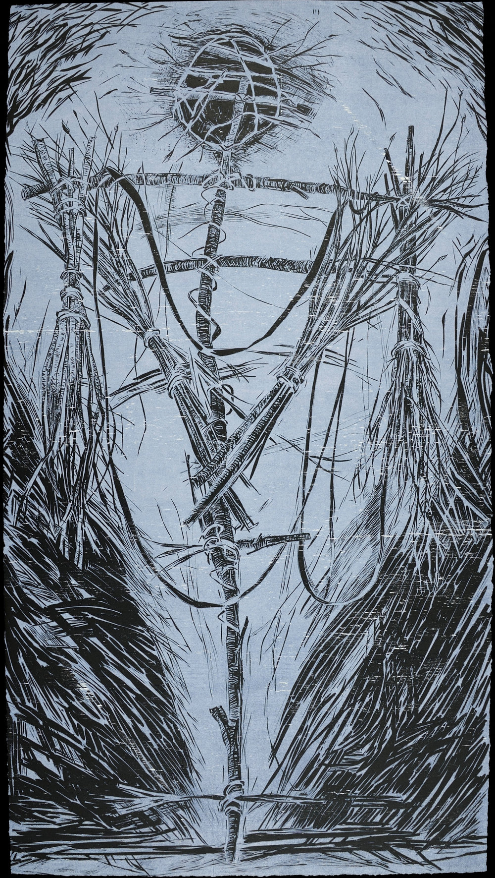 "Blue Velvet Stick Man   Color Linocut, 22 ½ x 41 ½"", 1987"