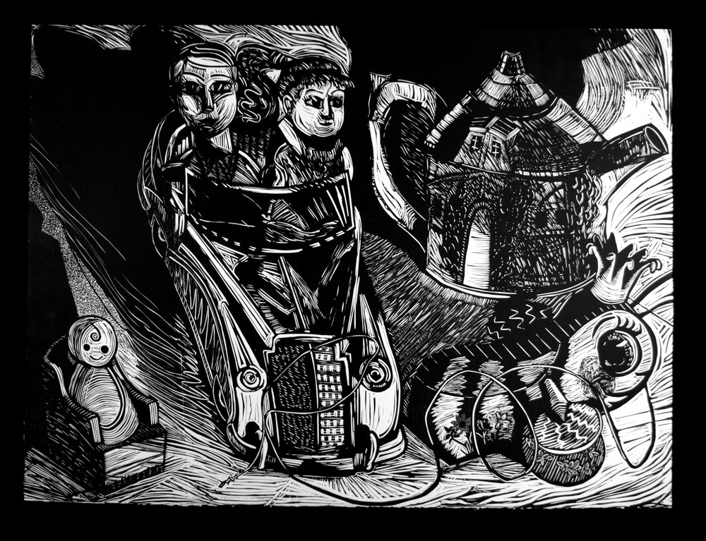"Careening into Parenthood   Linocut, 22x30"", 1986"