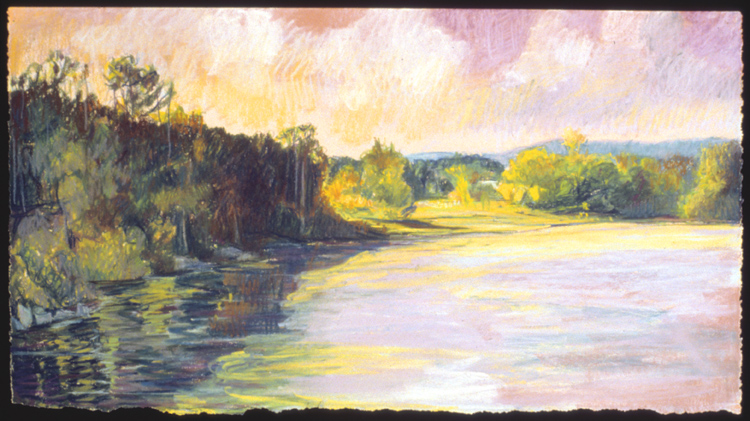 "Deep River Light   Pastel, 15x22"", 1994"