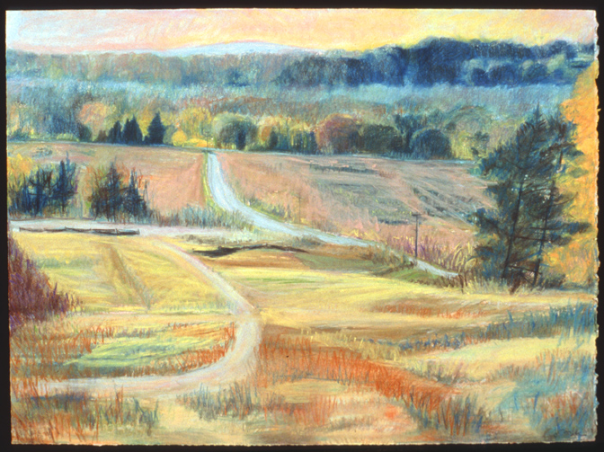 "The Valley Down to the River   Pastel, 22x30"", 1994"