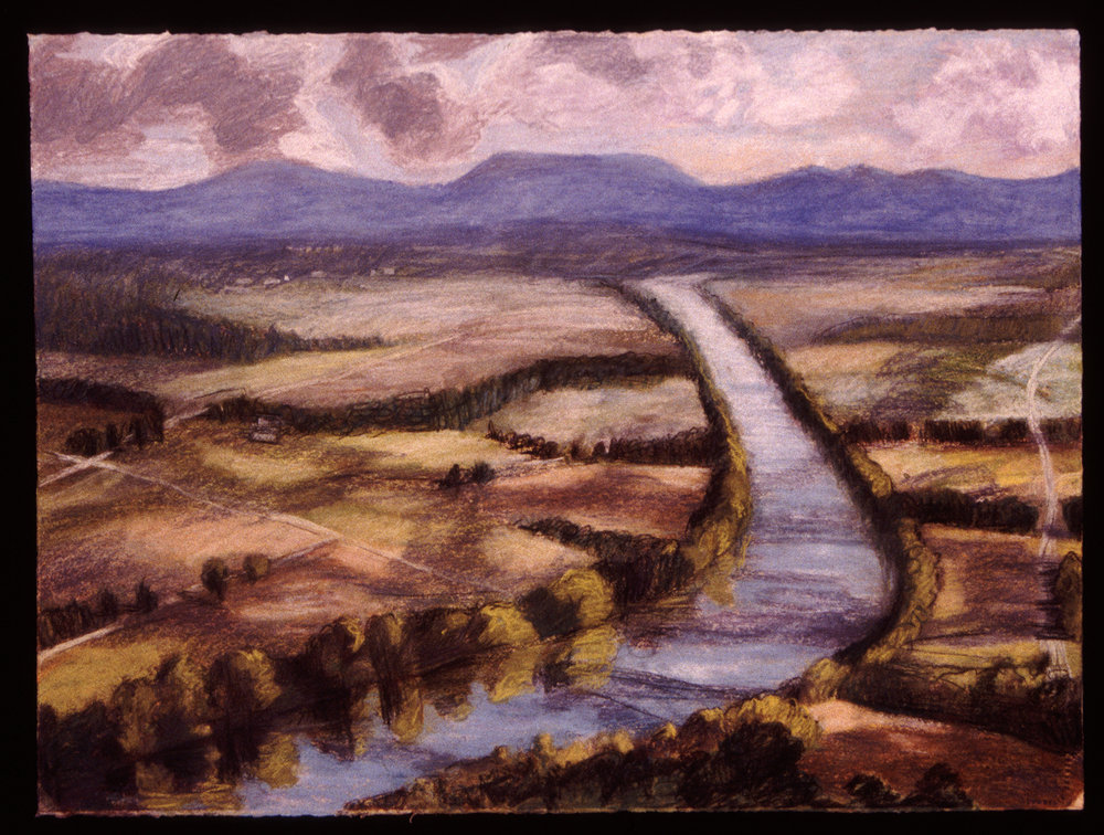 "CT River from Mt. Sugarloaf   Pastel, 22x30"", 1993"