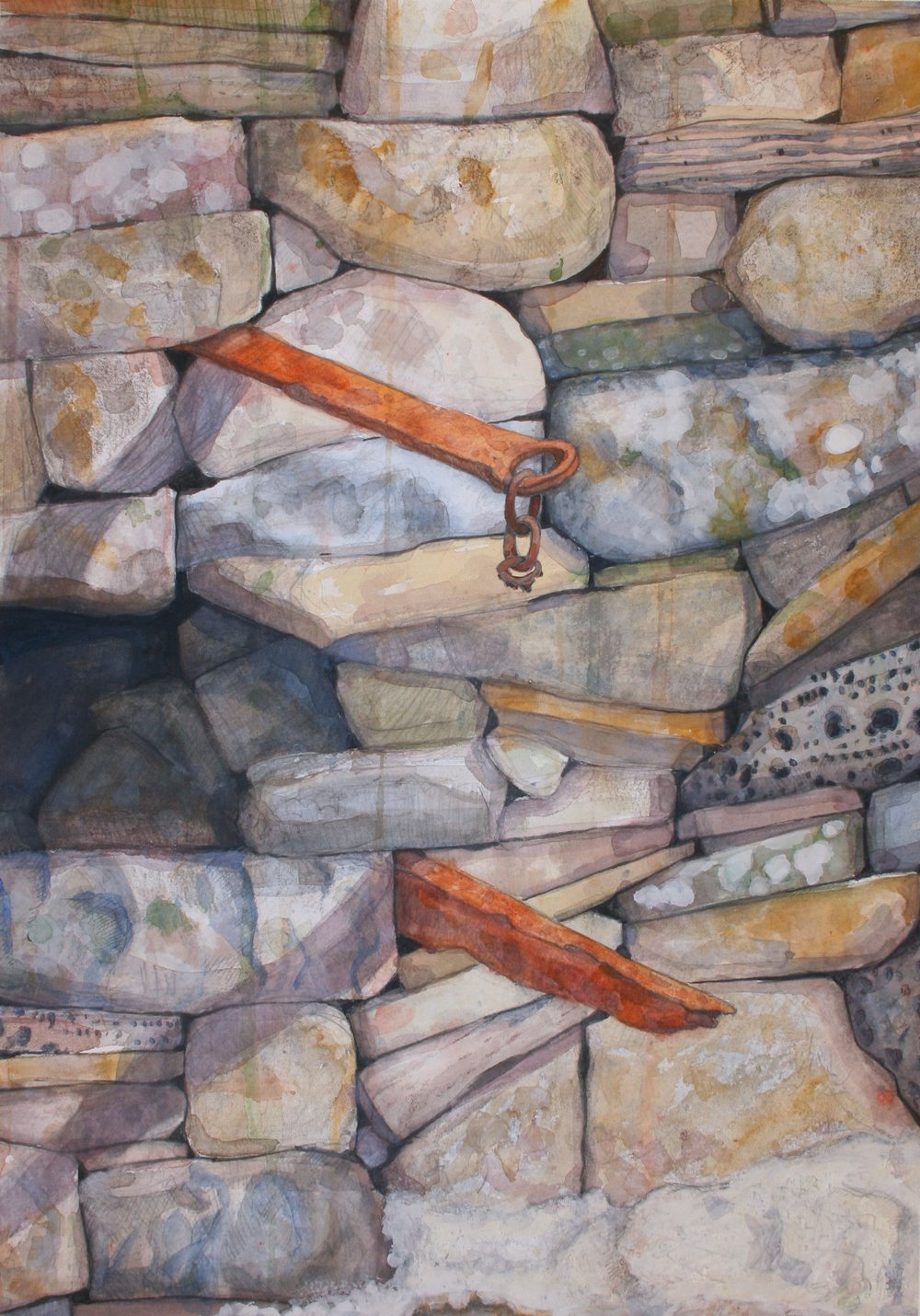 "Stone Wall With Rusted Iron   Watercolor, gouache, charcoal, 20x14"", 2013"