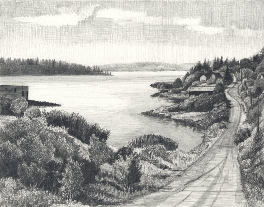 "Eastport Long Road   Pencil, 15x22"", 2009"