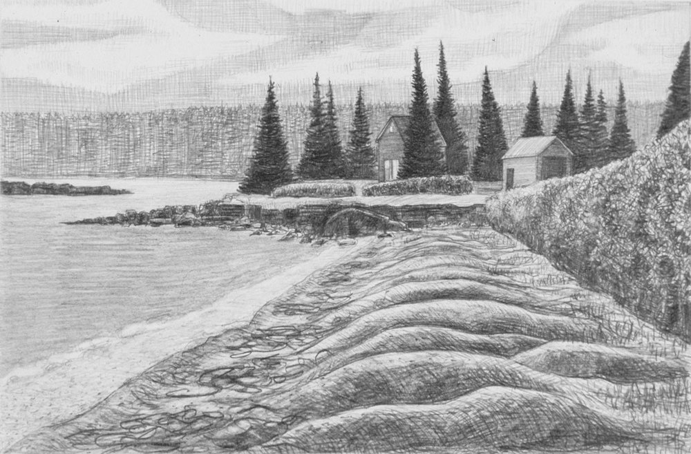 "Roque's Bluff   Pencil, 11x15"", 2003"
