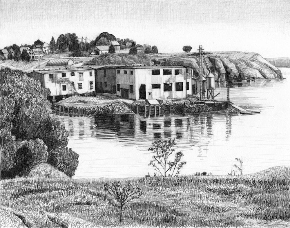 "Sardine Cannery, Eastport, ME   Pencil, 15x22"", 2009"