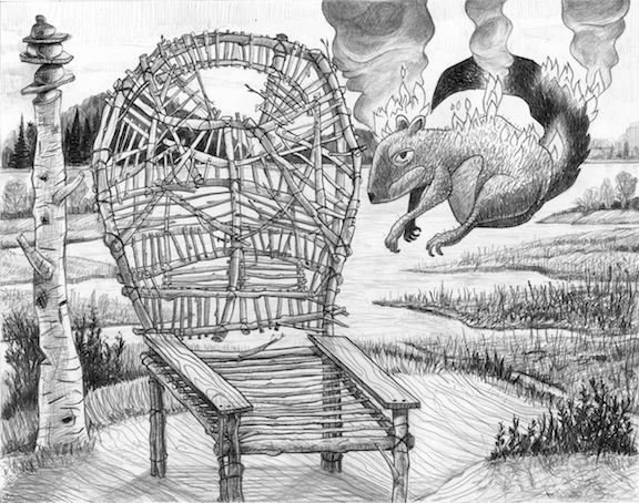 "Squirrel and Wicker Chair   Pencil, 15x18"", 2009"