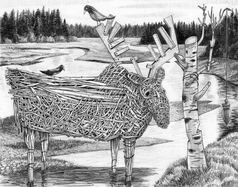 "Wicker Moose   Pencil, 11x14"", 2009"
