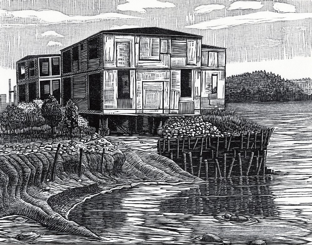 "Derelict Cannery, Eastport   Woodcut, 15x18"", 2009"