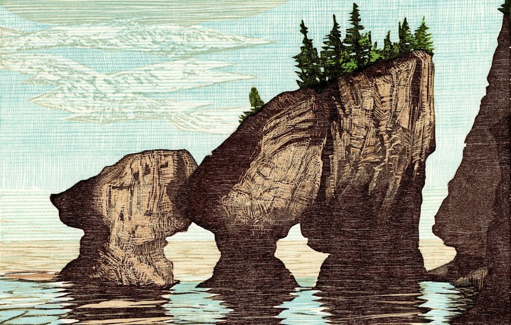 "Hopewell Rocks-Bay of Fundy   Color woodcut, 11x14"", 2003"