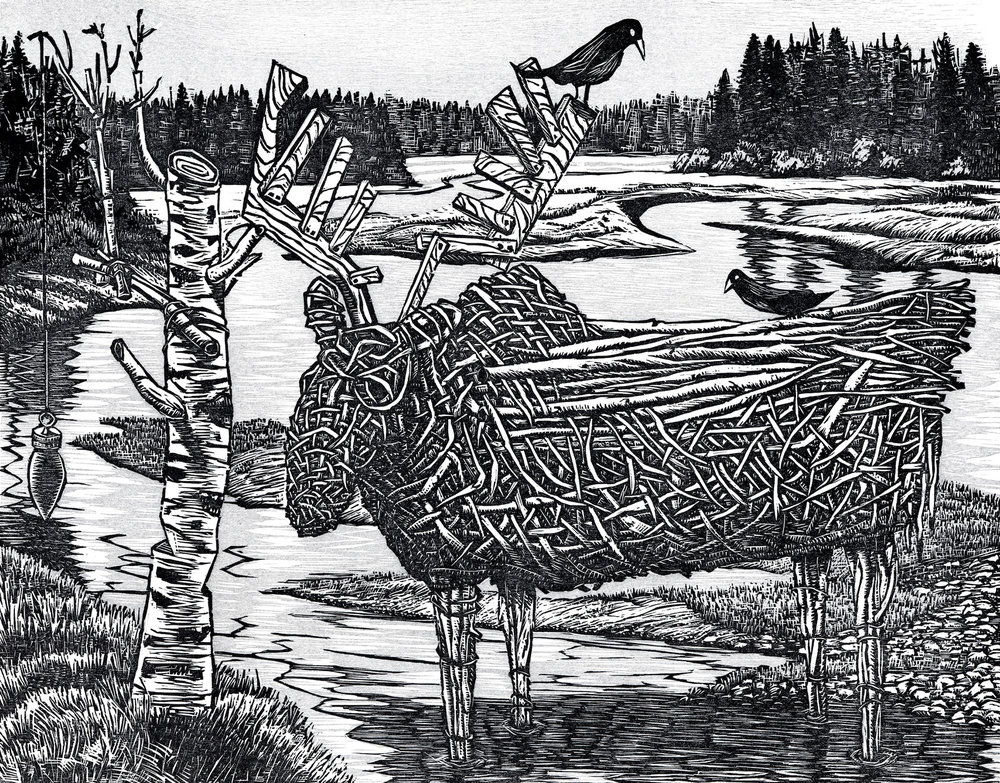 "Where the Wicker Moose Roam Woodcut, 15x18"", 2010"