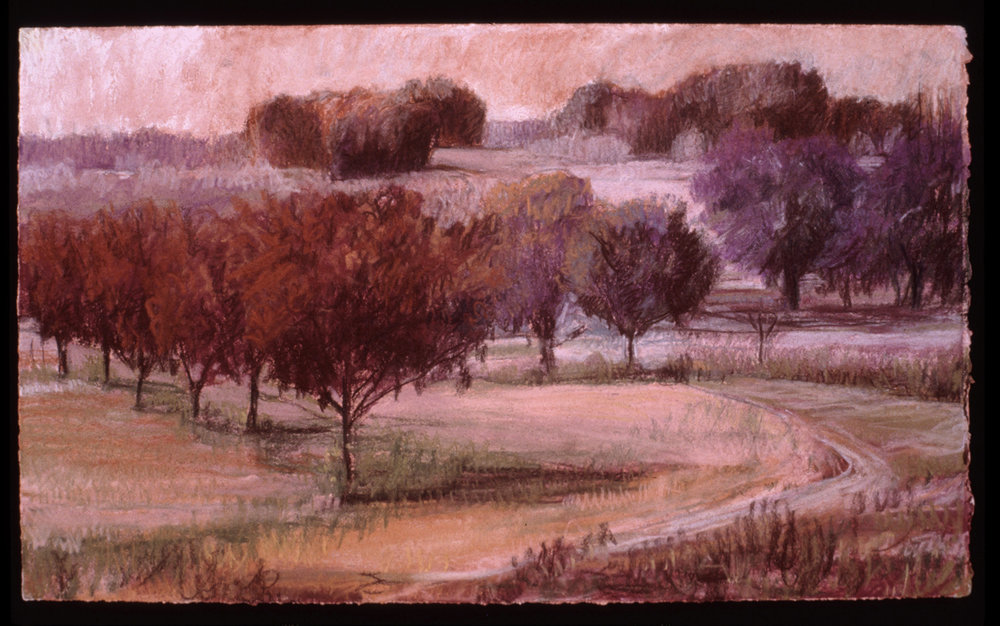 """Red Orchard   Pastel, 15x22"""", 1998"""
