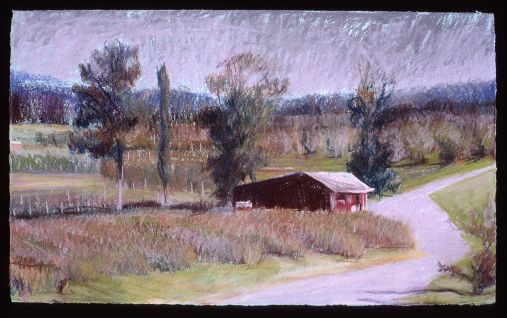 """Red Shed in the Orchard  Pastel, 15x22"""", 1999"""