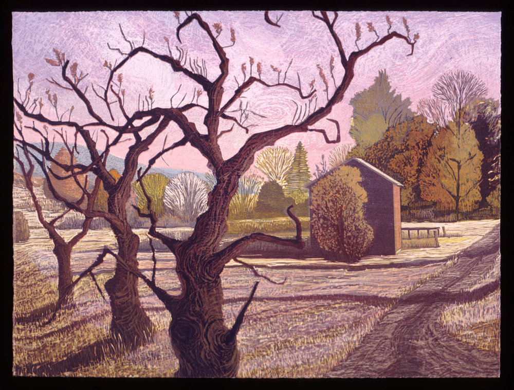 """The Orchard After the Fall   Color woodcut, 15x20"""", 1998"""