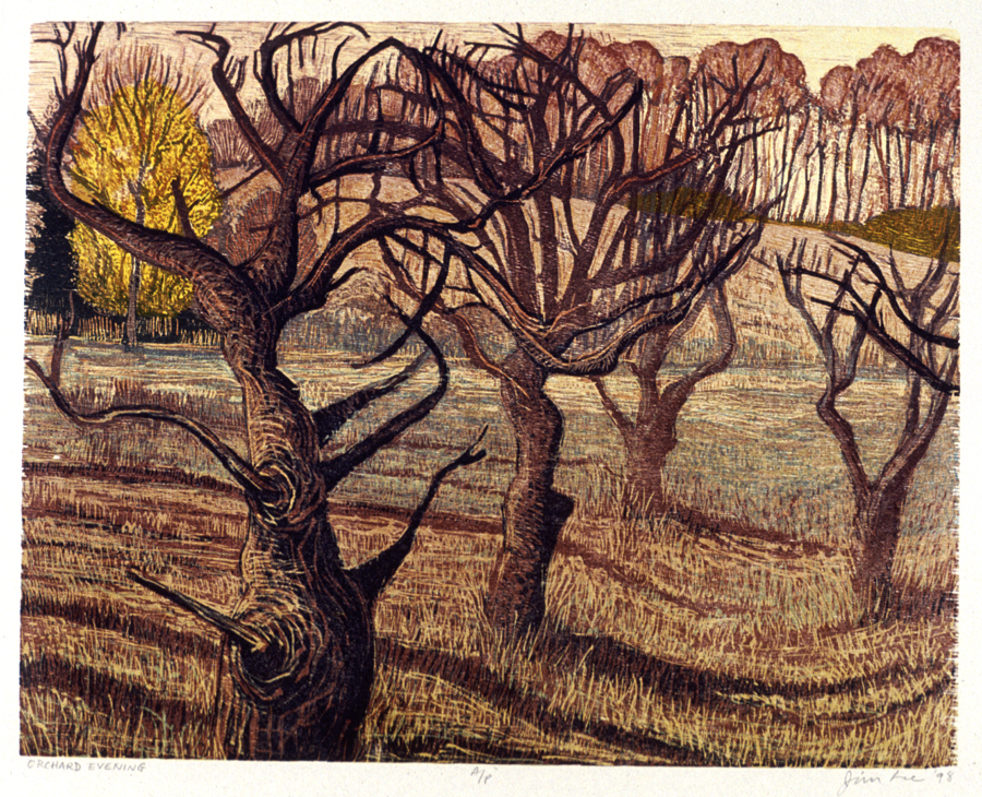 """Orchard Evening   Color woodcut, 17¾ x14¾"""", 1998"""