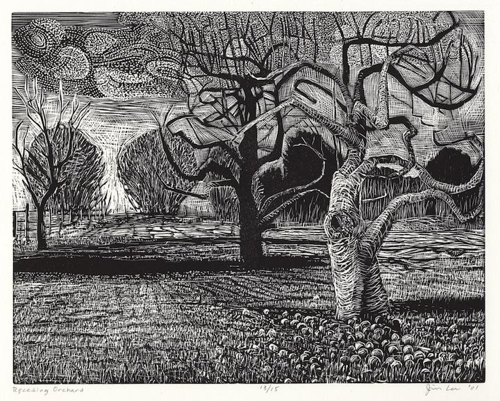 "Receding Orchard   Woodcut, 14¾ x17½"", 2001"