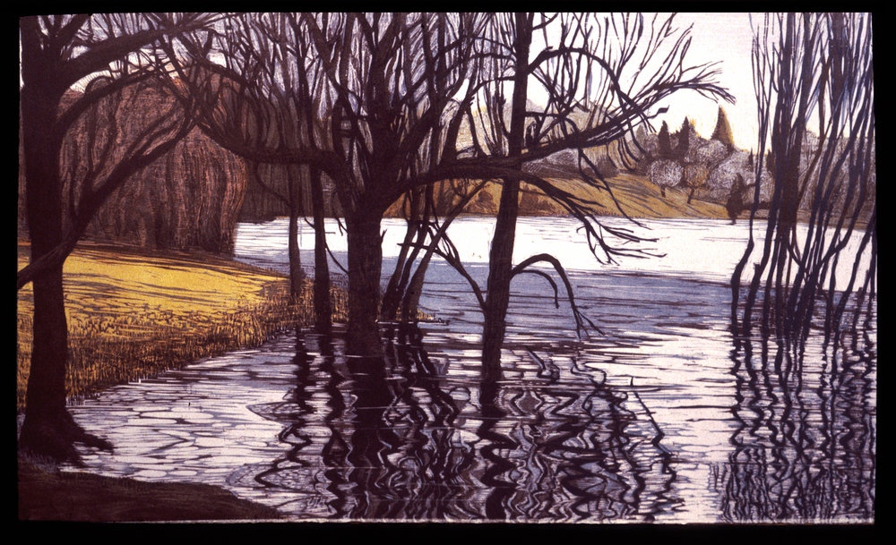 "Spring Flood on Wethersfield Cove   Color woodcut, 22x38"", 1997"