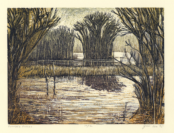 "Flooded Fields   Color linocut, 12¾x15¾"", 1995"