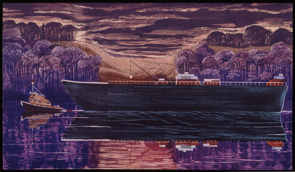 "Tanker at South Glastonbury   Color woodcut, 22x38"", 1996"