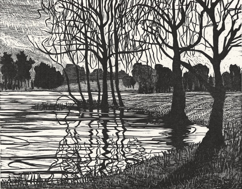 "Rivers Edge   Woodcut, 15x18"", 1997"