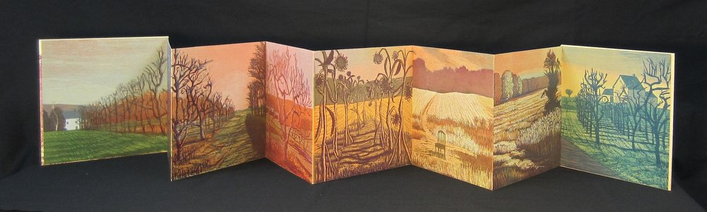 Accordion-fold book open  color woodcut