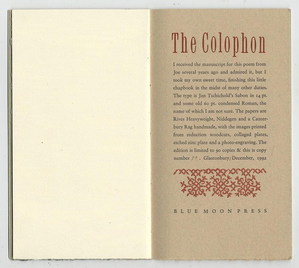 "Colophon  9x10"""