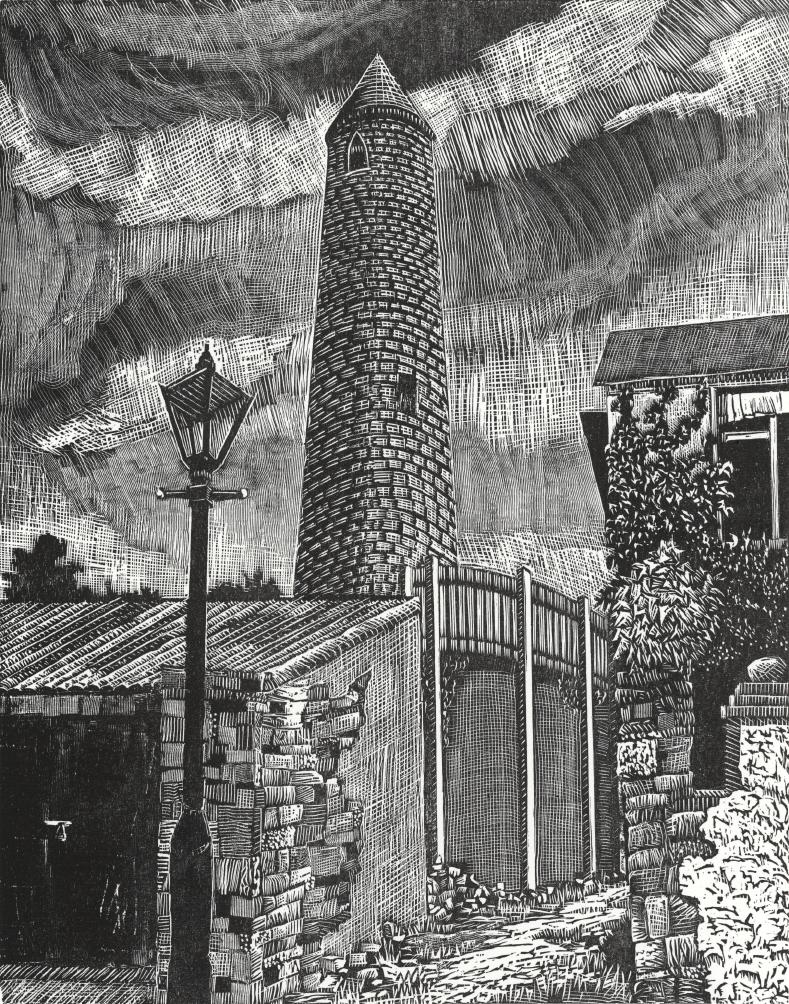 "Kilala Round Tower   Woodcut, 18x15"", 2017"