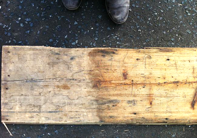 Pine floorboard: A section hand finished.