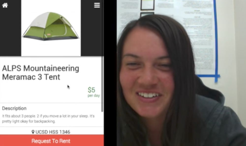 In this testing session, one camera points at the user's face, while a screen capture simultaneously records what the user is looking at. Testing sessions were reviewed with these two views side-by-side, as shown above.