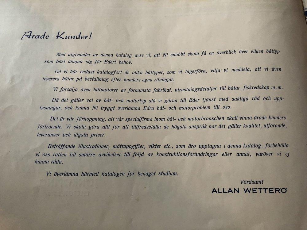 """Allan Wetterö """"Om oss"""" anno 1946"""